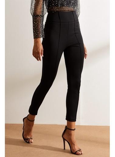 Setre Siyah Yüksek Bel Süs Dikişli Fit Pantolon Siyah